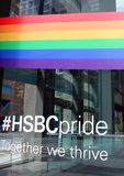 HSBC Pride, Toronto. HSBC Bank supports its customers and employees from the LGBT community. The Bank sponsors  a range of Pride events in Toronto and around the stock image