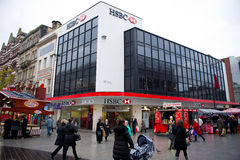 HSBC-Banktak in Liverpool Stock Afbeeldingen