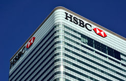 HSBC Canary Wharf. HSBC office building HQ in London financial district Canary Wharf Stock Images