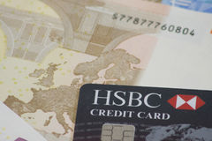 HSBC credit card on Euro note Royalty Free Stock Photos