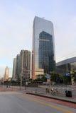 Hsbc företagsbyggnad på soluppgång i guangzhou Royaltyfri Foto