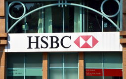 HSBC Holdings plc. HO CHI MINH CITY, VIETNAM, APR 9, 2015 - HSBC Holdings plc is a British multinational banking and financial services company headquartered in Royalty Free Stock Photo