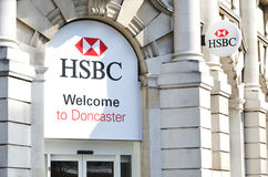 HSBC Holdings sign. HSBC Holdings plc is a British multinational banking and financial services company headquartered in London, UK. It is the world's third Royalty Free Stock Photo