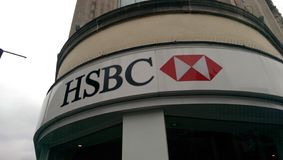 HSBC logo. HSBC bank logo white red royalty free stock photography