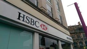 HSBC logo. HSBC bank logo white red royalty free stock images