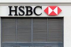 HSBC logo on a wall Stock Photo