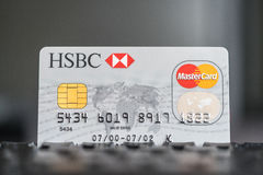 HSBC Mastercard Credit card on a keyboard royalty free stock photography