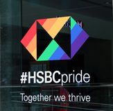 HSBC Pride, Toronto. HSBC Bank supports its customers and employees from the LGBT community. The Bank sponsors  a range of Pride events in Toronto and around the stock photos