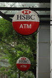 HSBC sign of ATM at a branch in Hanoi capital Stock Image