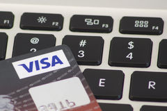 HSBC Visa credit card on computer keyboard Royalty Free Stock Image