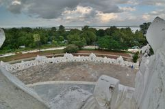 View from the upper terrace. Hsinbyume Pagoda. Mingun. Sagaing region. Myanmar. The Hsinbyume Pagoda is a large pagoda on the northern side of Mingun, painted Stock Photos