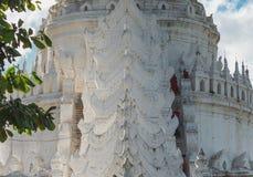 Hsinbyume Pagoda, Mingun, Sagaing Region near Mandalay, Myanmar. Hsinbyume Pagoda is a beautiful temple located in Mingun on Irrawaddy river near Sagaing stock image