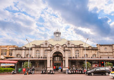 Hsinchu train station under blue sky stock images