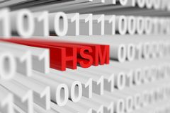 HSM. As a binary code with blurred background 3D illustration Royalty Free Stock Images