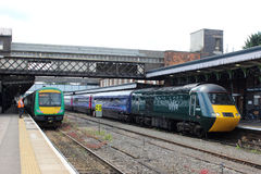 HST and class 170 dmu Worcester Shrub Hill station Stock Image
