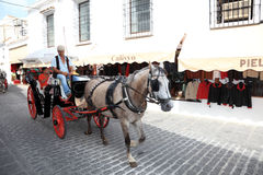 Häst drivande vagn i Mijas, Spanien Royaltyfria Foton