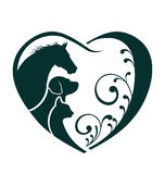Häst-, hund- och kattförälskelsehjärta Arkivbilder