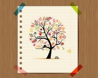 höstdesignteckningen skissar den din treen Fotografering för Bildbyråer