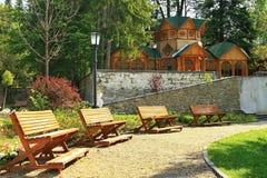 hösten benches parklandskap Royaltyfria Foton
