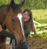 hästkvinnabarn Arkivfoton