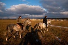 hästryggridning Royaltyfria Bilder