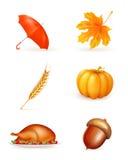 höstsymbolsset Royaltyfria Bilder