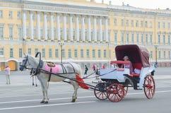 Hästvagn - service för turister i St Petersburg Arkivbilder