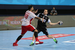 HT de Besiktas MOGAZ et match de handball de Dinamo Bucuresti Photo libre de droits