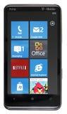 HTC aislado HD7 que funciona con el teléfono 7 de Windows Fotografía de archivo