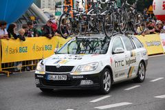 HTC Highroad team. KATOWICE, POLAND - AUGUST 2: Team vehicle on the route of Tour de Pologne bicycle race on August 2, 2011 in Katowice, Poland. TdP is part of Stock Image