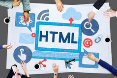 HTML互联网编制程序网站软件概念 图库摄影
