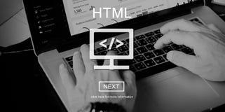 HTML网上网站技术在线编程概念 图库摄影