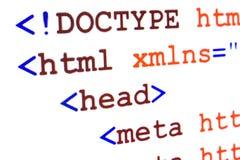 HTML网页来源代码的片段与称谓的 免版税库存照片