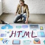 HTML计算机语言互联网网上技术概念 免版税库存图片