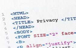 HTML κώδικα Στοκ φωτογραφίες με δικαίωμα ελεύθερης χρήσης