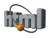 Html. Golden ball fly around the letters html - 3d illustration Stock Photography