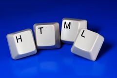HTML. Written with keyboard keys, isolated on blue background Stock Image