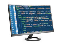 在计算机显示器的HTML代码 库存图片