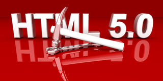 HTML 5.0 Tools. 3D rendered Illustration Stock Images