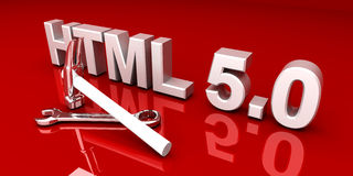 HTML 5.0 Tools. 3D rendered Illustration Royalty Free Stock Photos