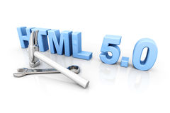 HTML 5.0 Tools. 3D rendered Illustration. Isolated on white Royalty Free Stock Image