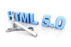 HTML 5.0 Tools. 3D rendered Illustration. Isolated on white stock illustration