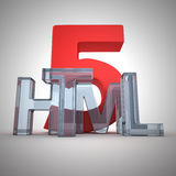 HTML 5. Word Html written by glass letters stock illustration