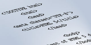 HTML 5 Semantic Code. HTML5 code background image. Web design and developer programming language Stock Photos