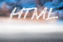 Html against cloudy landscape background Stock Images