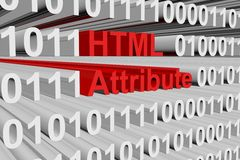 Html attribute. In the form of binary code, 3D illustration royalty free illustration