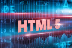 HTML 5 on blackboard. HTML 5 blue text concept on blue background stock illustration