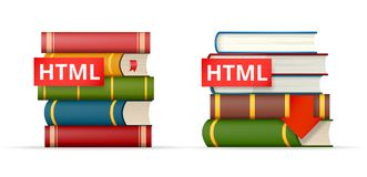 HTML books stacks  icons Royalty Free Stock Photos