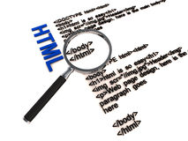 Html code. Html web page design code under a lens on white surface Stock Photos