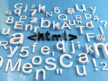 Html code. 3d render of some letters and word html Royalty Free Stock Image